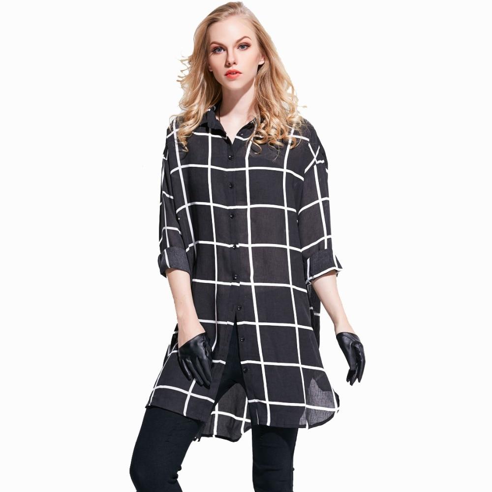 Aliexpress.com : Buy 2016 Sheer Blouse Cotton Linen Black Checked ...