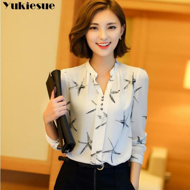 Summer 2019 Blouses Women's Tops Office Work Elegant Chiffon Shirts black Slim Blouse Casual Long Sleeve Plus Size White Shirt 1
