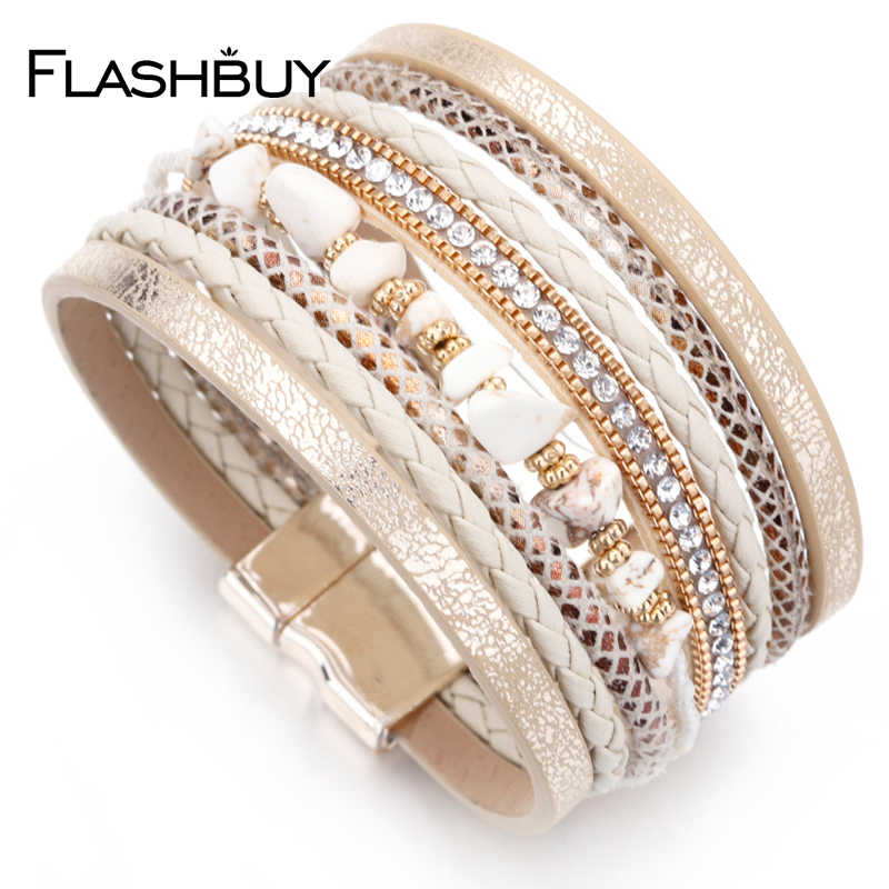 Flashbuy Fashion Multilayer Leather Bangles Wide Bracelets For Women Wrap Bracelet Female Jewelry Party Accessories