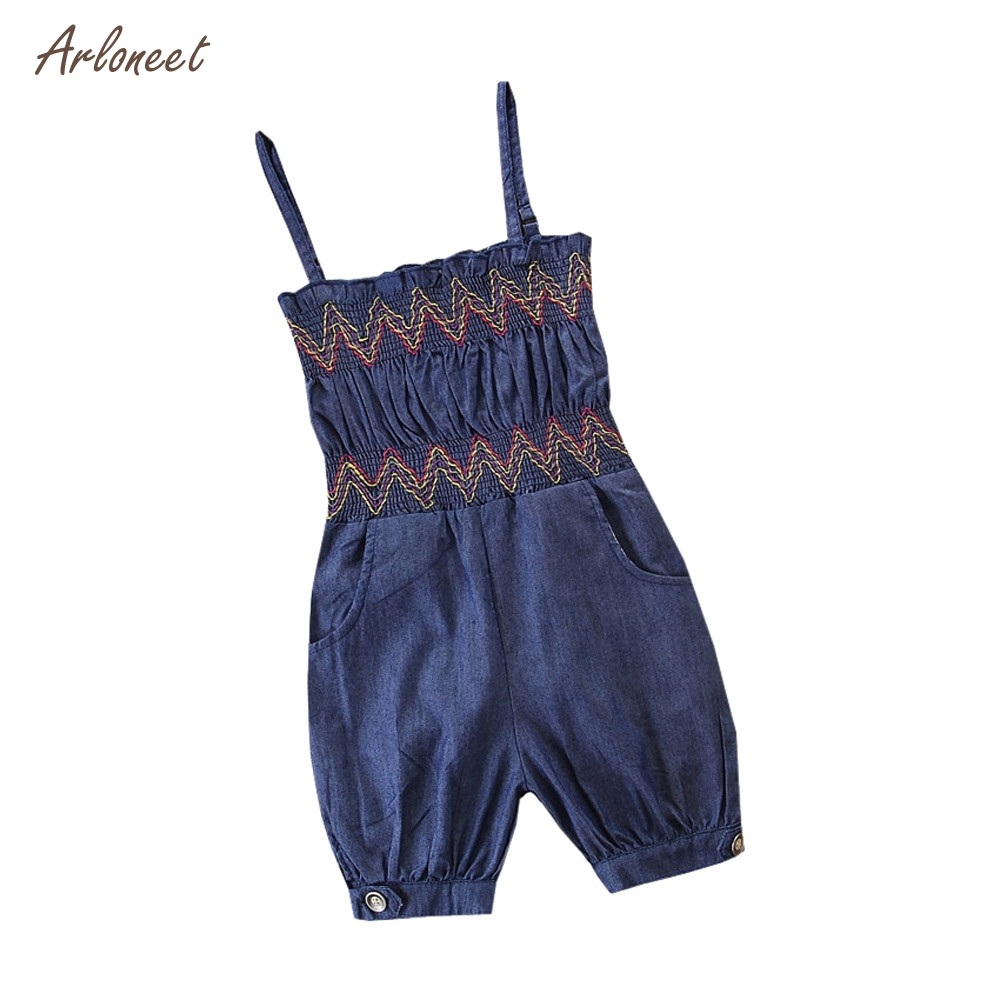 ARLONEET Toddler Baby Girls Sleevele Wave Denim Overalls Romper Jumpsuit Pant Outfits Dropshipping _F21