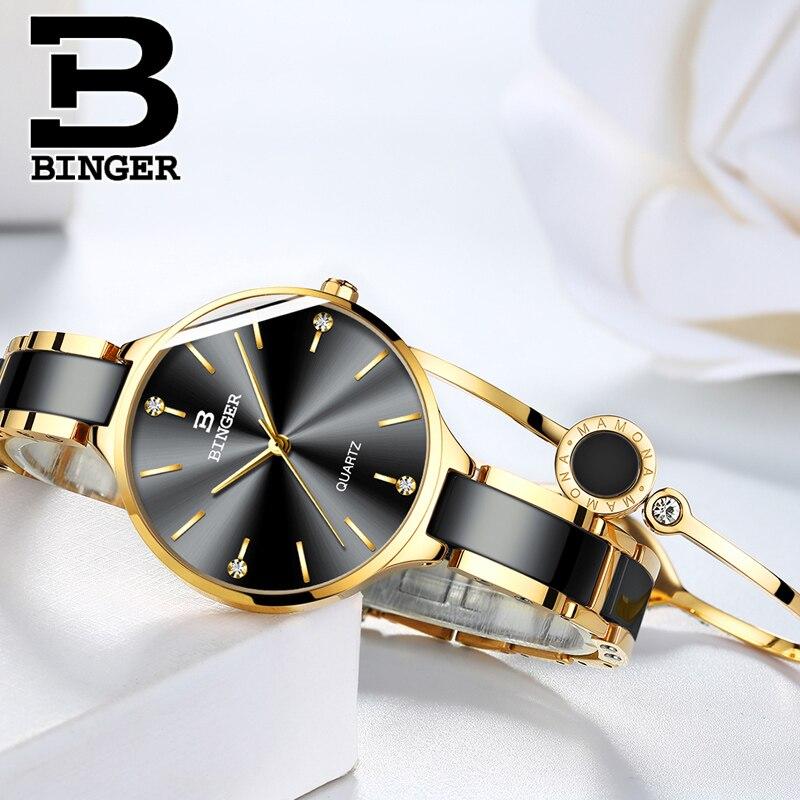 Switzerland Binger Ceramic Quartz Watch Women Fashion Luxury Brand Wristwatches Water Resistant Relogio Feminino Montre Relogio