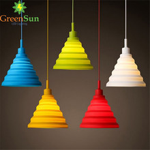 Modern Simple Colorful Silicone lampshade Candy Colors E27 Holder Pendant Lights Changeable lampshade DIY Design(China)