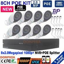 8CH NVR 1080P POE KIT Community Video Recorder H.264 P2P Cloud Cellphone Management Movement Detection HDMI for Surveillance IP Digicam set