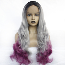 Black Roots Ombre Grey Purple 3 Tone Middle Part Synthetic Lace Front Wig Glueless Body Wave Natural Wig for Black Women стоимость