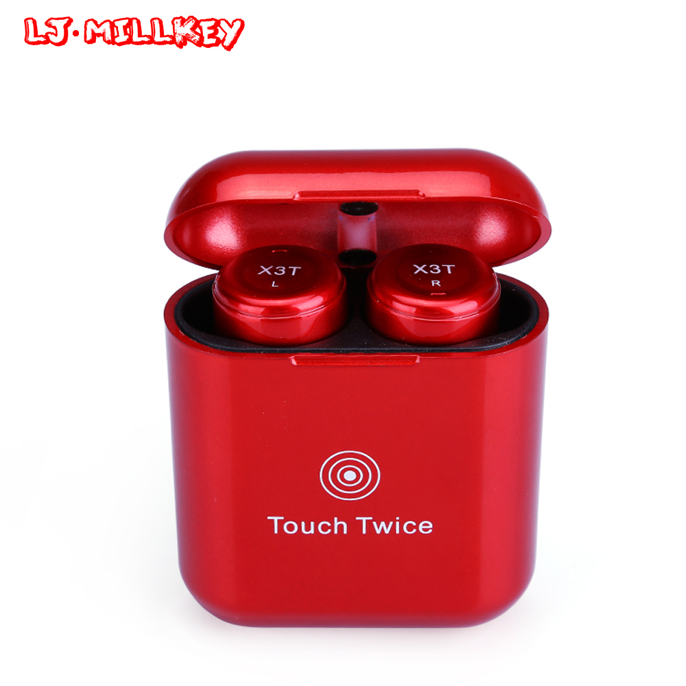 Bluetooth Earphone TWS Earbuds With Charging Case True Wireless Twins Earpiece Stereo Headset for Phone LJ-MILLKEY YZ138 gieftu true wireless earbuds twins x2t mini bluetooth csr4 2 earphone stereo with magnetic charger box case for mobile phone