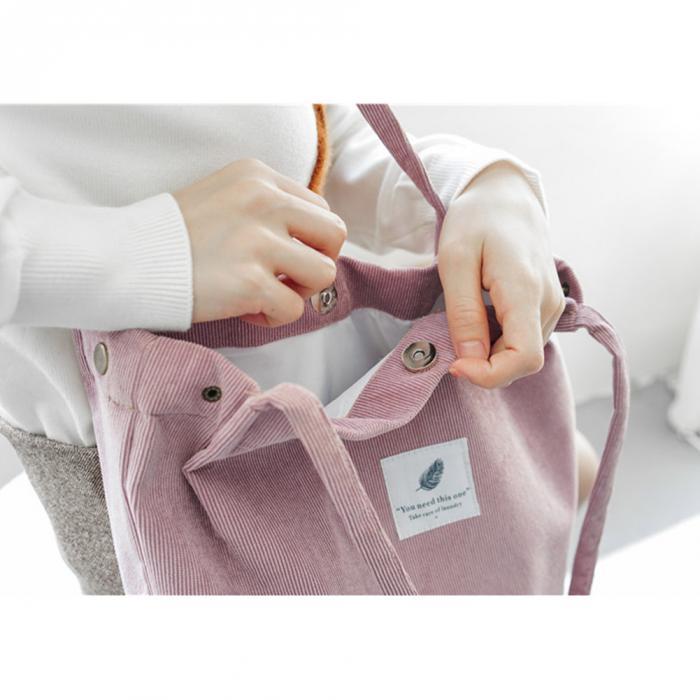 High Capacity Women Corduroy Tote Ladies Casual Shoulder Bag Foldable Reusable Shopping Beach Bag WML99 14