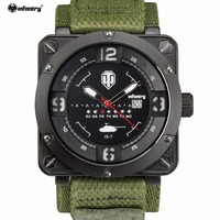 INFANTRY Brand Montre Homme Male Luminous Sport Military ARMY 3ATM Analog Date Day Green Nylon Band