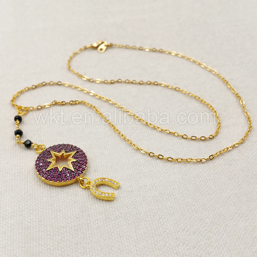 WT-MN911 Wholesale Custom Micro Paved Cubic Zirconia Necklace Lovely stars, moon, palm CZ Necklace For Women Gift