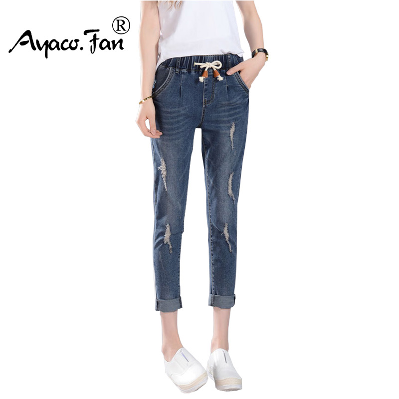 2017 Women Harem Pants Summer Fashion Denim Pant Female Mid Waist Hole Ripped Drawstring Jeans For Lady Ankle-Length Trousers new summer vintage women ripped hole jeans high waist floral embroidery loose fashion ankle length women denim jeans harem pants