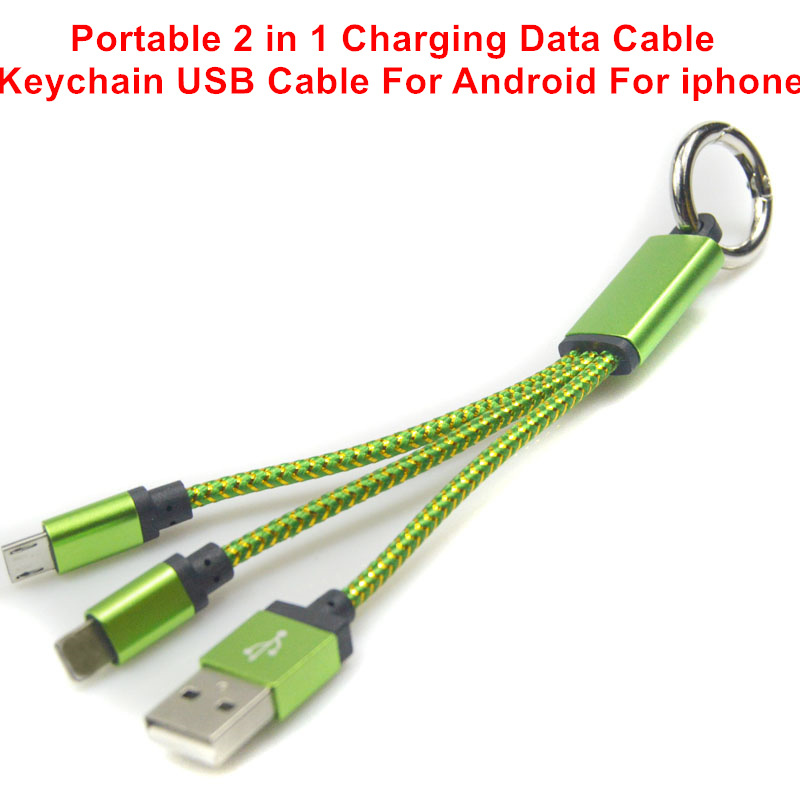 Micro USB Cable Keychain 2 in 1 Sync Data Charging Cables For iPhone 5 5S 6