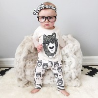 Retail 2016 Summer Style Infant Clothes Baby Clothing Sets Boy Cotton Little Monsters Short Sleeve 2pcs