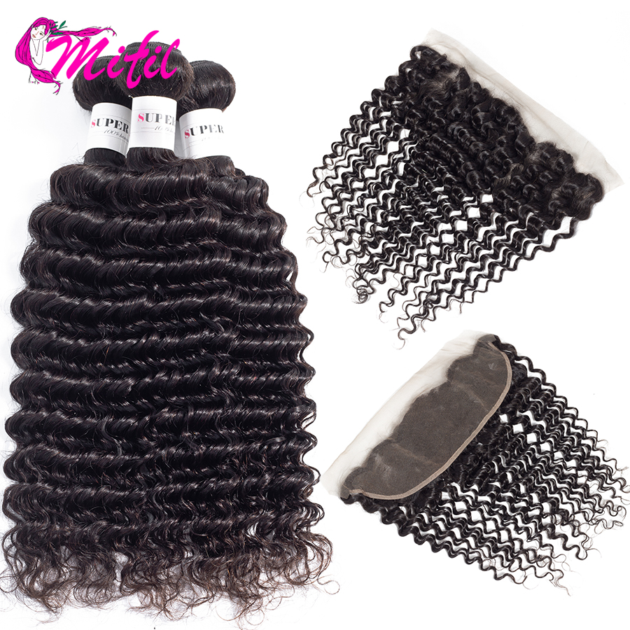 Mifil Deep Wave Bundles With Frontal Indian Hair Lace Frontal Closure With Bundles Non Remy Human
