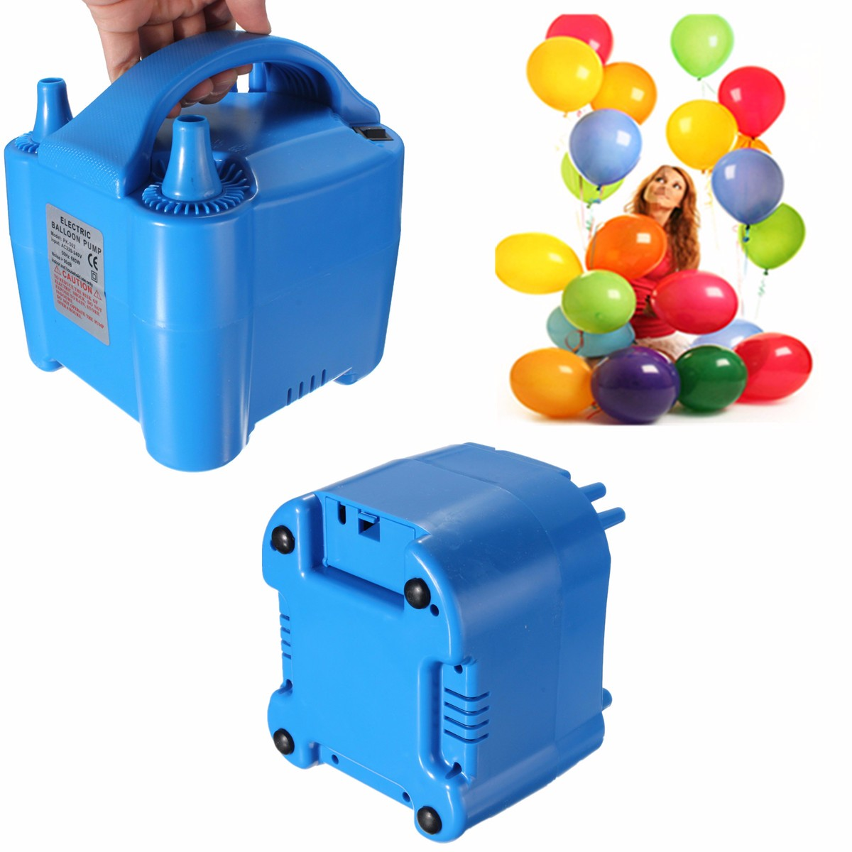 MTGATHER Portable Electric Balloon Inflator Pump Air Blower 2 Nozzle High Power Blue/Red/Green Color random