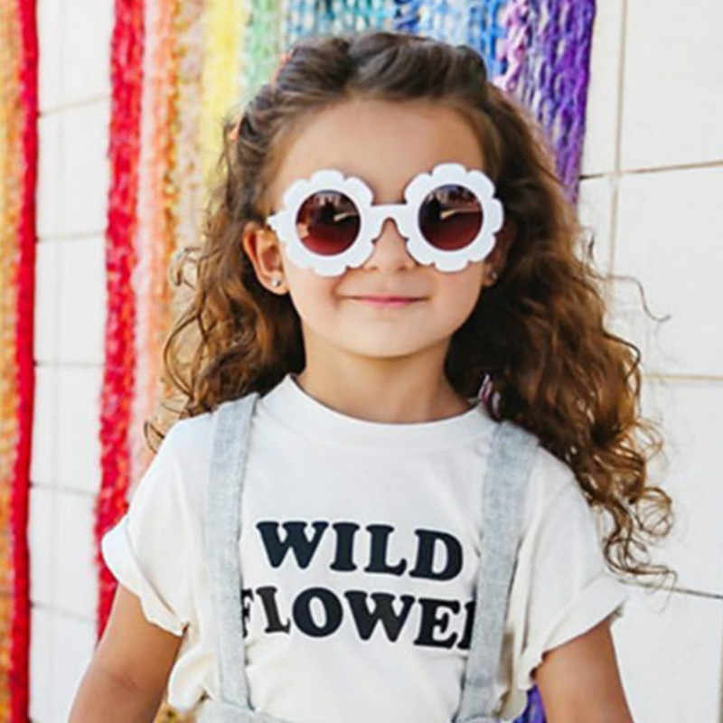 236837ca9b 2019 Cute Sun Flower Round Sunglasses for Children Boys Girls Sun Flower  Child Glasses with UV