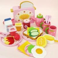 Baby Toys Strawberry Toast Bread Toaster Toys Wooden Pretend Play Kitchen Toys Gift