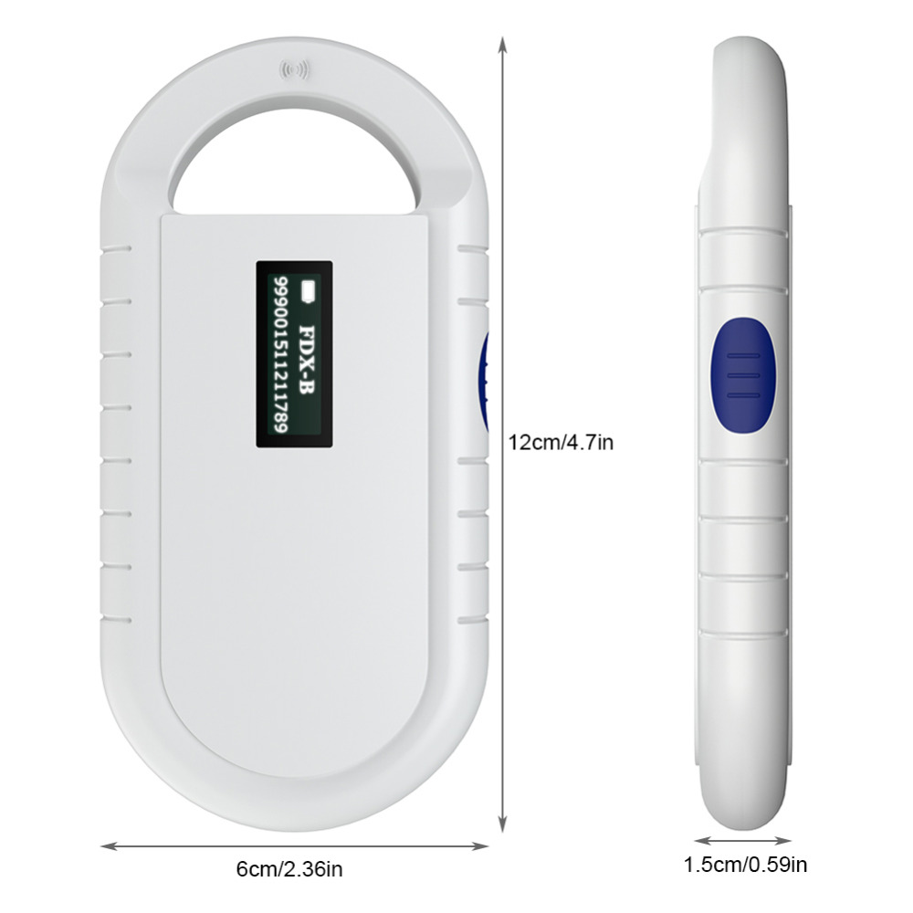 ISO11785/84 FDX-B Pet microchip Scanner Animal RFID Tag Dog Reader Low Frequency Handheld RFID Reader with Animal Chip New