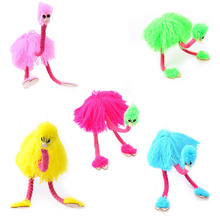 5 Pcs/pack Christmas Funny Toy Pull String Puppet Ostrich Stuffed Marionette Joint Activity Doll Festival Gift