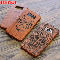Wood Case For Samsung Galaxy S8 S8 Plus Coque 100 Natural Wooden Bamboo Carving Phone Back