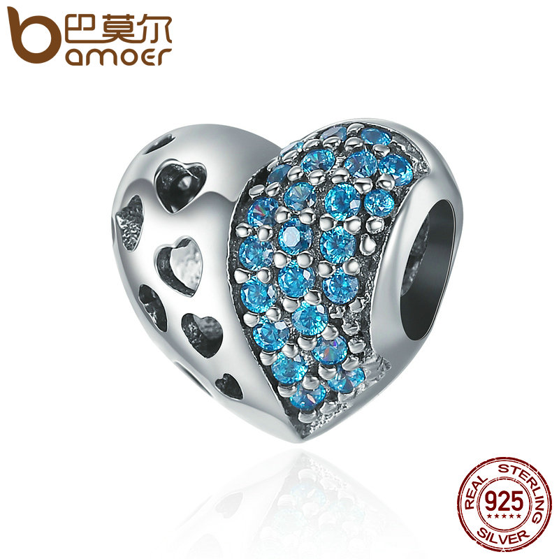 BAMOER Authentic 100% 925 Sterling Silver Openwork Heart Dazzling CZ Charm Beads fit Charm Bracelet Bangles DIY jewelry SCC399