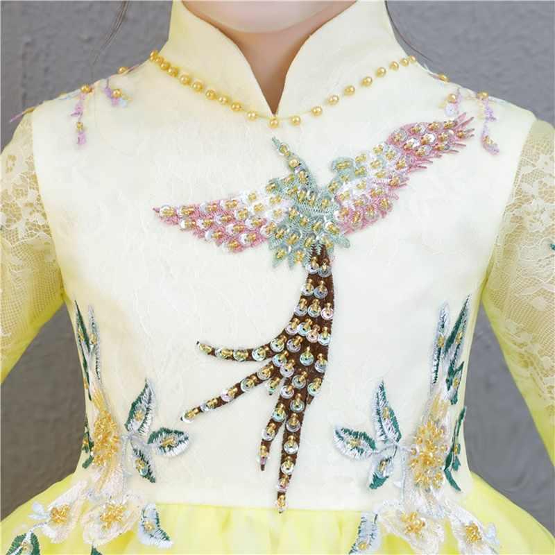 الأصفر فستان صيني بالتواصل الفتيات شيونغسام الزفاف اللباس الاطفال أثواب للبنات مهرجان تشيباو زهرة فتاة فساتين 2019 TS1599