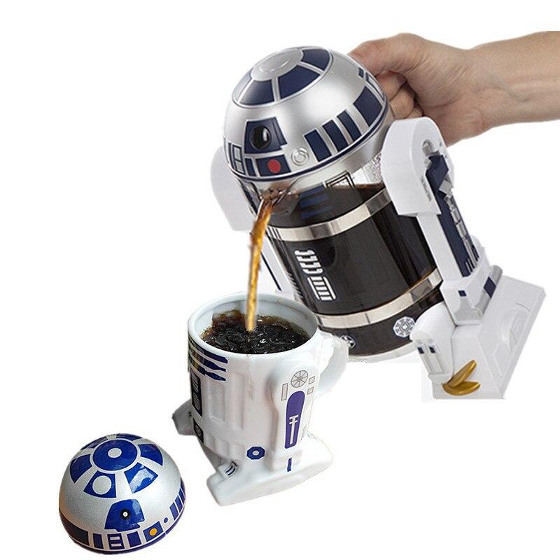 960 ml 스타 워즈 r2d2 커피 포트 프렌치 프레스 냄비 크리 에이 티브 주전자 drinkware-에서커피포트부터 홈 & 가든 의  그룹 1