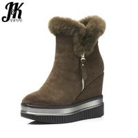 J K 2017 New Arrive Fur Winter Boots Women Fashion Zip Thick Platform Shoes Woman Ankle