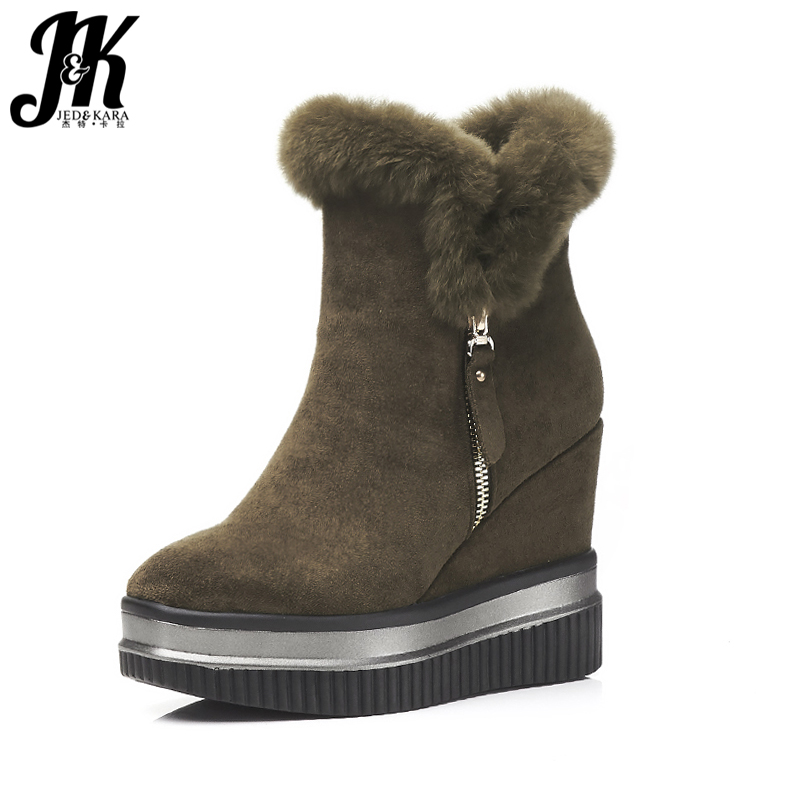 J&K 2017 New Arrive Fur Winter Boots Women Fashion Zip Thick Platform Shoes Woman Ankle Boots High Wedges Boots Square toe Shoes 2016 new arrive summer boots fashion peep toe thick high heels women boots cut outs platform shoes woman ankle boots for women