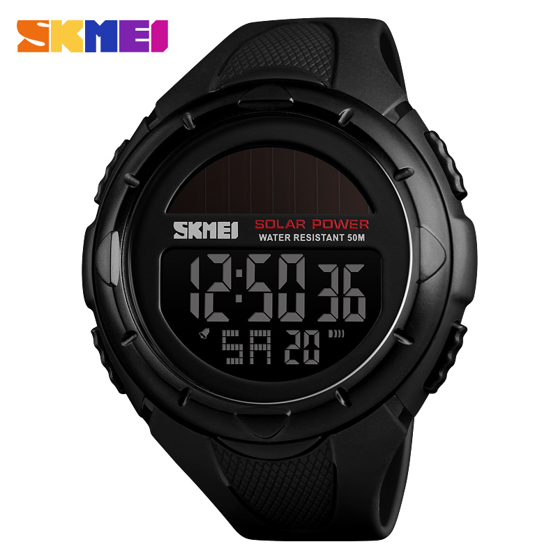Skmei Sport Luz Solar Men Fashion Reloj Digital Hombre Wtaches Waterproof Tops Analog Watch With Date Alarm Chronograph Relogio