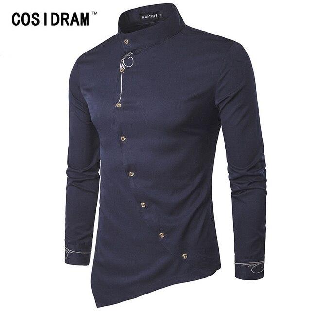 Cosidram Для мужчин 2018 Для мужчин Повседневная рубашка с длинным рукавом Повседневное Slim Fit Мужской Рубашки для мальчиков MC-002