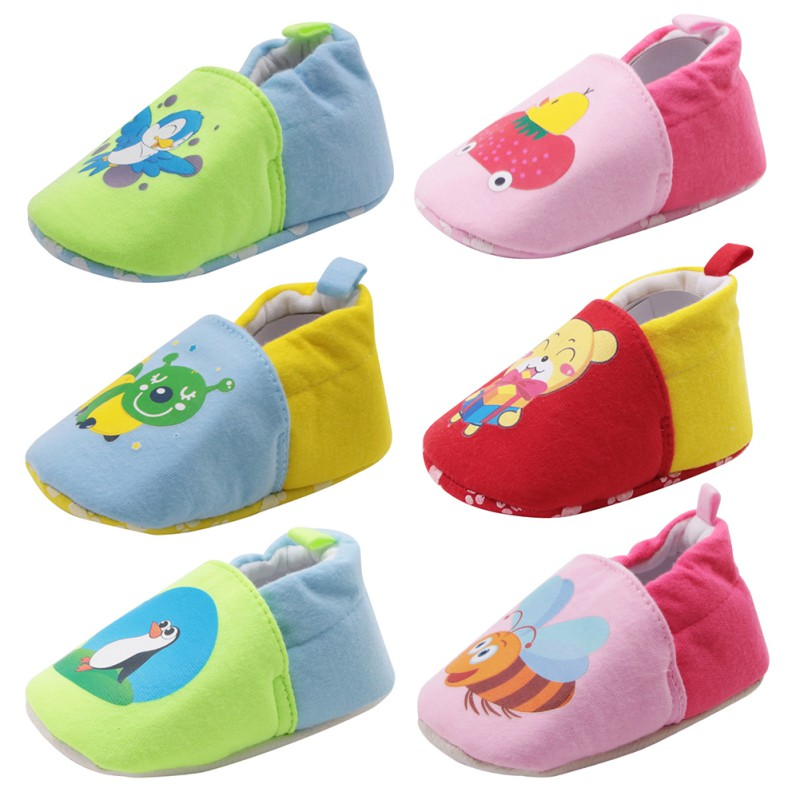 Cute Shoes For Boys And Girls Soft Bottom Baby Toddler First Walkers Shoes Slip-On Cotton Shoes