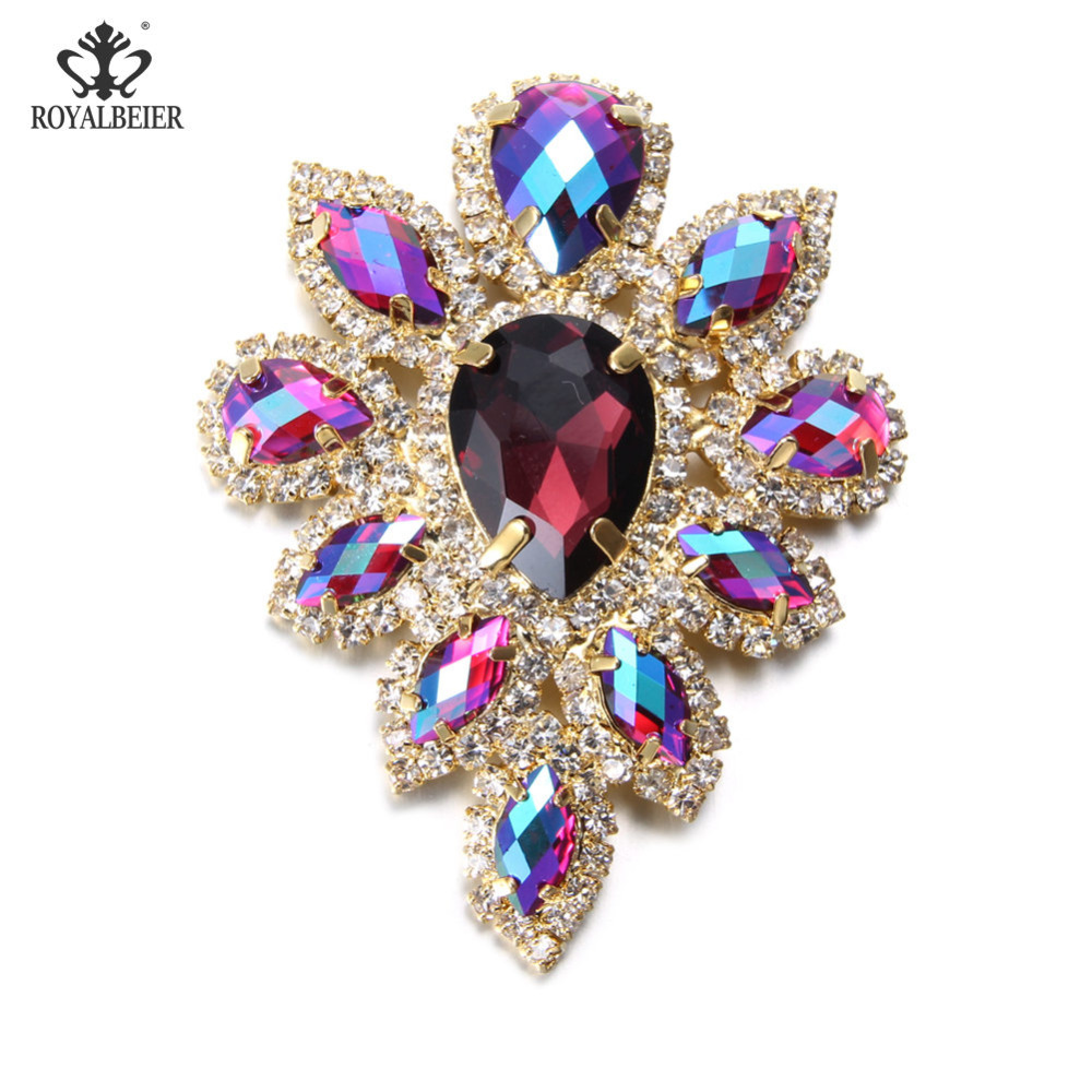 1pcs/lot New Big Flower Shape 5.5-6cm Length Colorful Rhinestone AlloyFor 18/20mm Snap Charms Button Necklace Jewelry KZ0984