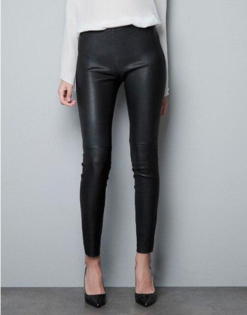 Spring  elegant ladies fashion PU leather Leggings wild Slim pencil pants feet leather pants  design women dress pantalon femme