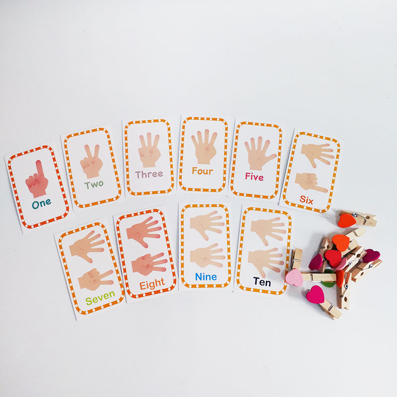 Montessori Digital Cards with Clips Set Language Materials Educational Learning Toys for Toddlers Juguetes Brinquedos MH0264H