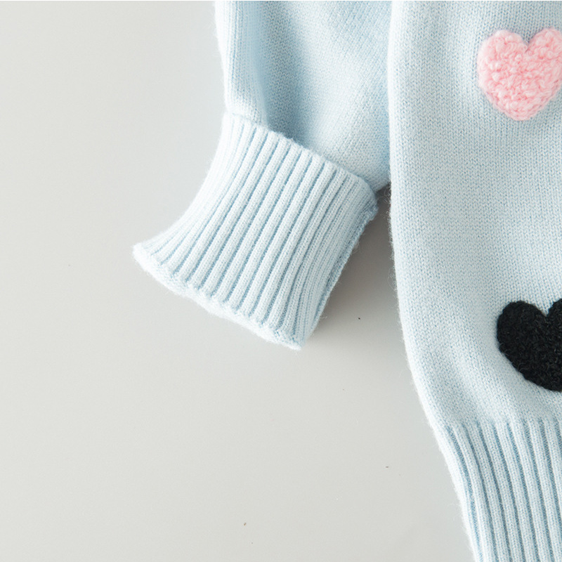 Sweater Cardigan For Girls Heart Cotton Solid Sweater Coat For Girl - Children's Clothing - Photo 6