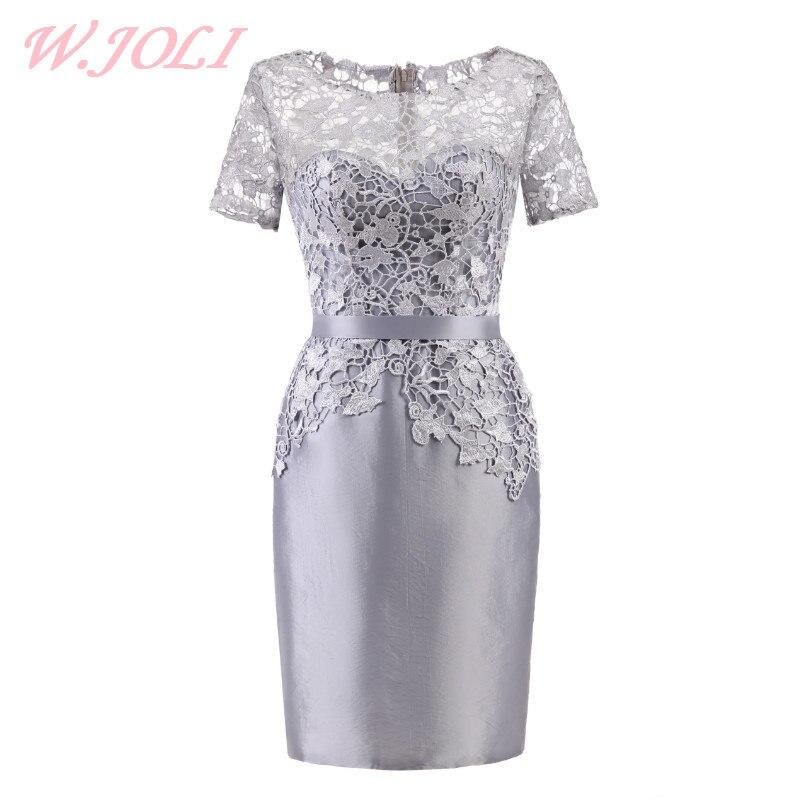 W. Joli круглым вырезом Короткое вечернее платье элегантные кружевные атласные аппликации серебро невесты банкет Выпускной Свадебные платья
