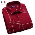 Langmeng 2017 marca de alta calidad para hombre slim fit gruesa camisa de vestir camisas camisa masculina color sólido de los hombres ocasionales cómodos