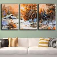 HDARTISAN Villaggio della Pittura A Olio di Paesaggio della Tela di canapa di Arte 3 Pezzo Inverno Neve Alberi Immagini Muro For Living Room Home Decor