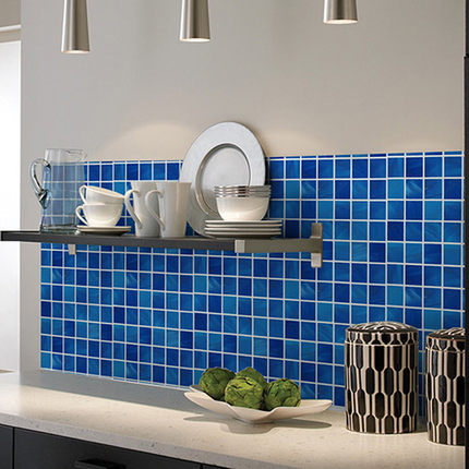 Vinyl Plastic Self Adhesive Wallpaper Bathroom Mosaic Tile Sticker  Waterproof Kitchen Wall Paper Kitchen PVC Wallpapers