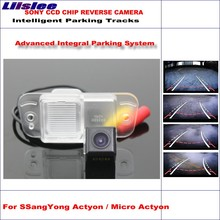 Liislee Car Rear Back Up Camera For SSangYong Actyon / Micro Actyon 2006-2010 Rearview TV Lines Dynamic Guidance Tragectory ветровики mobis ssangyong actyon 2006 2010