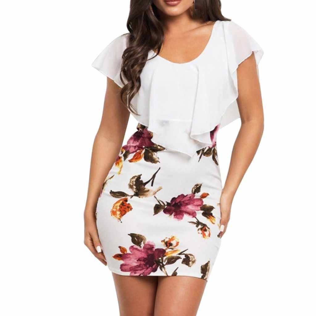 SAGACE Sexy Women Dress 2019 Plus Size Sleeveless Floral Printed Bodycon Holiday Party Short Casual Mini dress summer Dress new