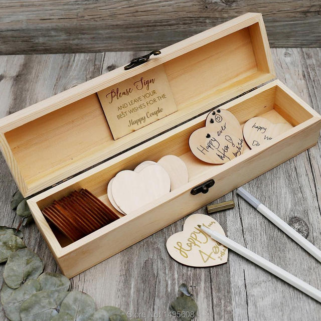 Us 26 09 13 Off Personalized Wedding Guest Book Custom Wooden Keepsake Box Wedding Box With Hearts Rustic Engrave Wedding Guestbook In Signature