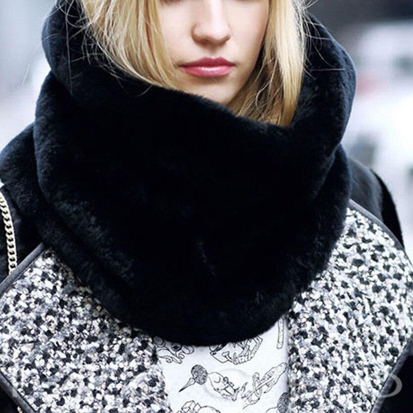 Ladies Women 10 Colors Winter Warm Natural Fur Collar Women Scarf Faux Fur Coat Scarves Luxury Neck Warmer Collar A40