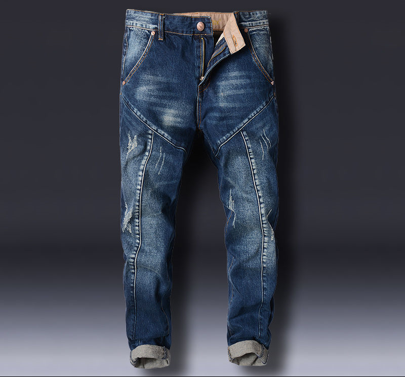 New Pants Stitching Korean Version Harlan Jeans Men's Small Pants Slimming Velvet Pants Male Loose Men's Jeans