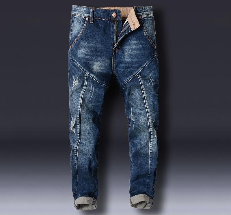 New Pants Stitching Korean Version Harlan Jeans Men's Small Pants Slimming Velvet Pants Male Loose Men's Jeans