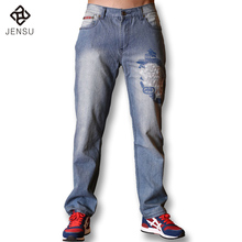 Plus Size Wholesale Brand Jeans Men Pants Leisure Casual Pants Newly Style Zipper Straight Cotton Men