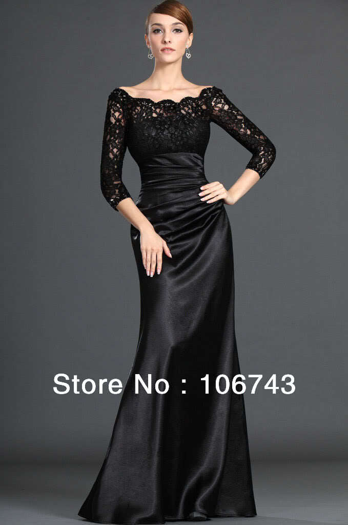 2016 hot sale Time-limited Empire Satin High Party Floor-Length free Shipping New Lace Long-sleeve Prom Custom   Evening     Dresses