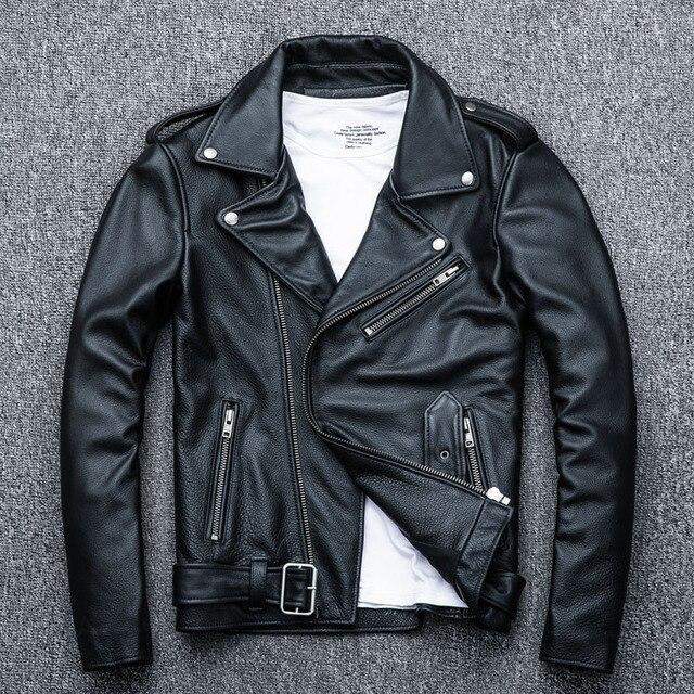 MAPLESTEED classique Moto vestes hommes veste en cuir 100% peau de veau naturel épais Moto veste homme Biker manteau hiver M192 1