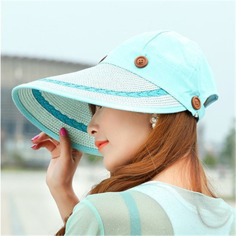 LiebenswüRdig Sun Hat Ladies Wide Brim Straw Women Wide Large Brim Floppy Summer Beach A Sun Hat Straw Hat Button Cap Summer Hats For Women Bekleidung Zubehör