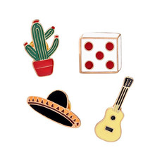 Drops Brooch Enamel Potted / Cactus / Guitar / Hat / Dice Brooch Clothing Jewelry Corsage Pencil