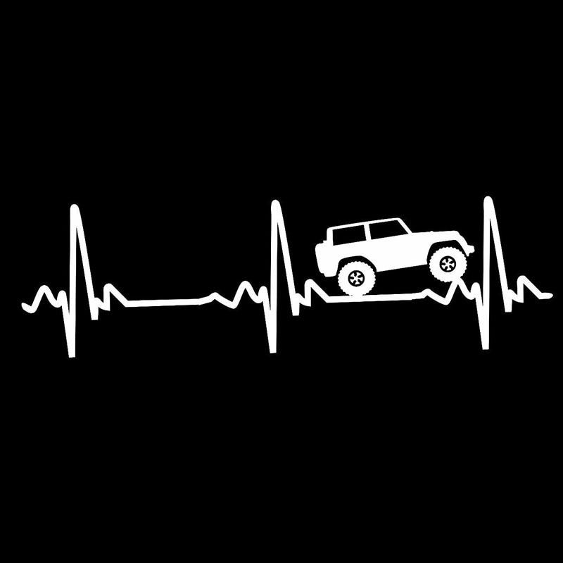 20,32x6,35 см Heart beat EKG для Jeep Wrangler-наклейка/наклейка для автомобиля, грузовика, ноутбука 4x4 #0141